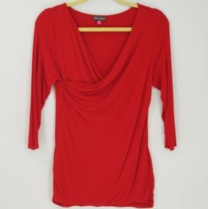 Vince Camuto 3/4 Sleeve Cowl Neck Ruch Side Blouse
